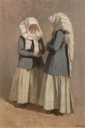 Kirchgängerinnen in Crostwitz