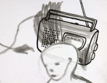 wšědny dźeń 17 kófrowe radijo, 2020, tušowa rysowanka