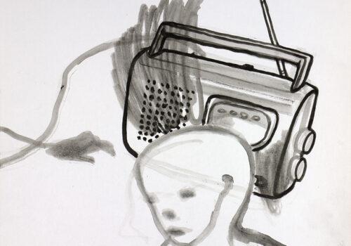 alletage 17 kofferradio, 2020, Tuschezeichnung